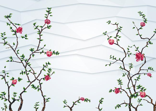 高清手绘花鸟3d立体背景墙壁画
