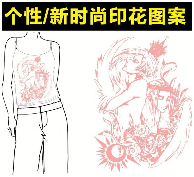 手绘粉色花纹女人头像t恤印花图案模板下载 手绘粉色花纹女人头像t恤