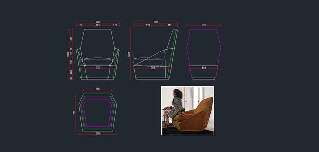 欧式家具cad图纸,休闲椅cad下载17