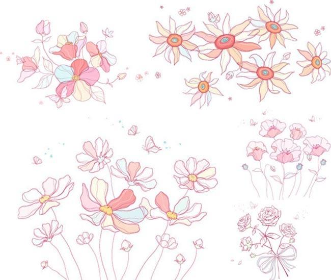 素描风格图案 花朵植物图案 矢量素材 花朵 花卉 玫瑰花 包装纸背景