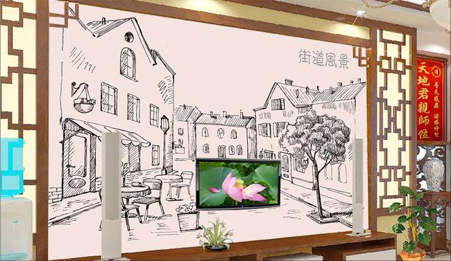 手绘街道风景模板下载 手绘街道风景图片下载 手绘街道风景 街道风景