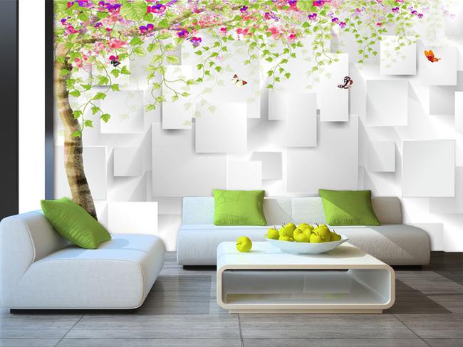3d手绘树背景墙