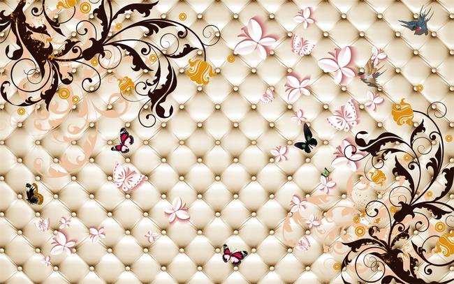 欧式潮流花纹软包电视沙发背景墙壁画高清图片下载()