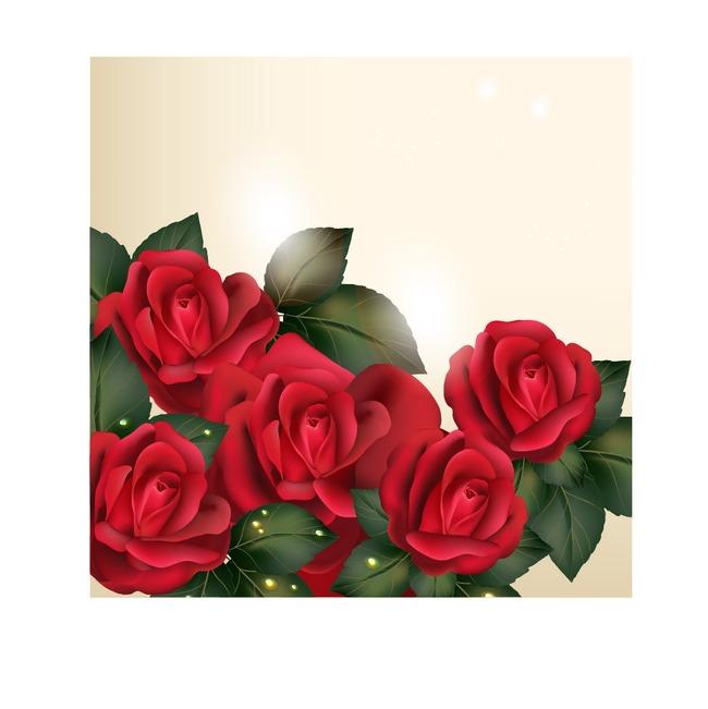 复古手绘火红玫瑰花叶子矢量印花图案