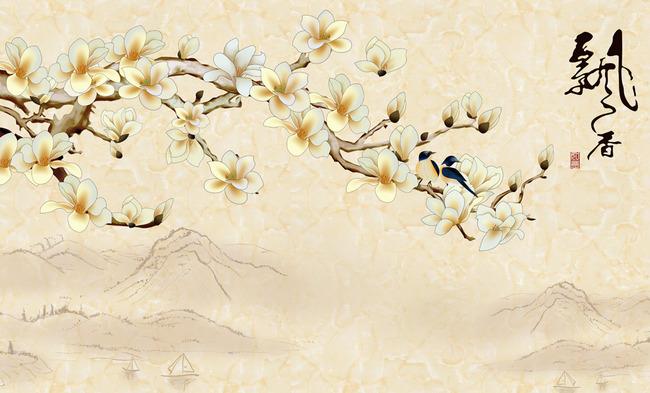 花鸟图 树枝 电视背景墙 壁画 壁纸 墙纸 客厅背景墙 艺术玻璃 瓷砖图片