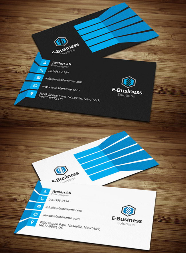 双版式创意蓝商务名片模板