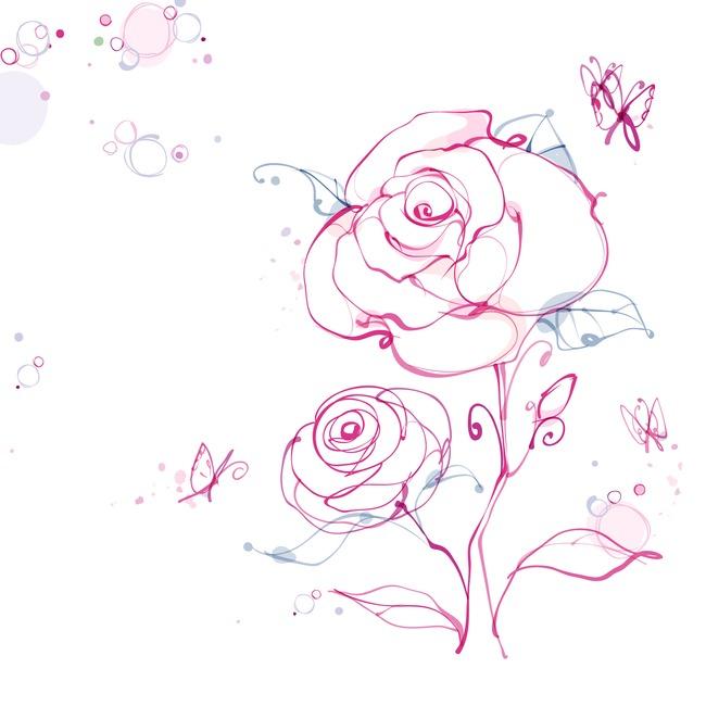 手绘玫瑰花叶子矢量印花图案