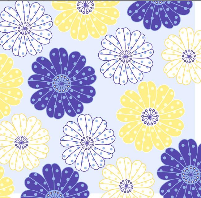 手绘花卉平铺花纹蓝色淡雅