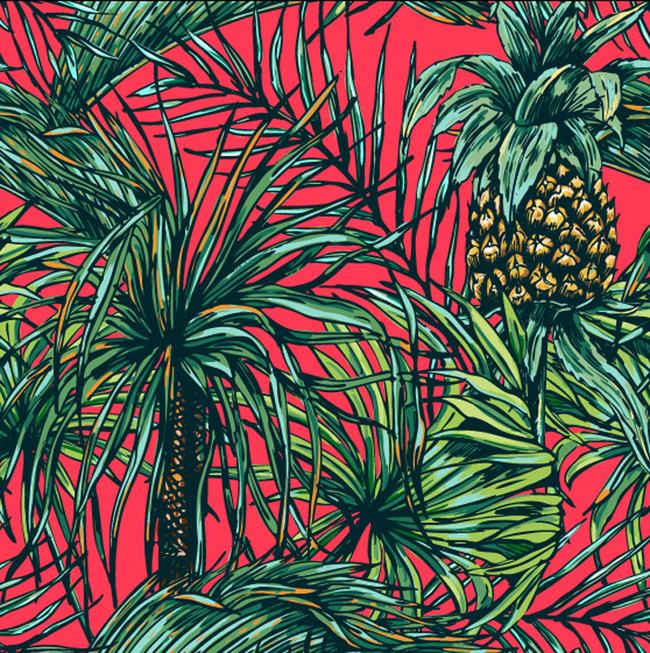 平面设计 花纹图案设计 花纹素材 > 手绘菠萝植物矢量印花图案