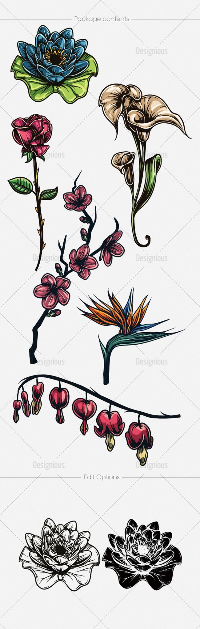 手绘矢量花朵图案