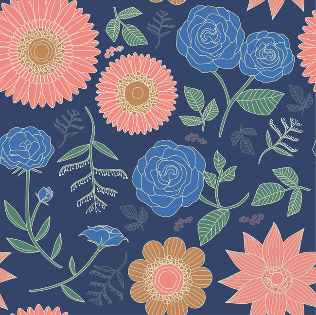 个性手绘韩版花卉花纹图案