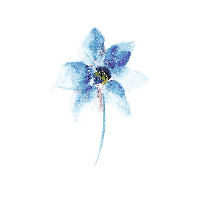 蓝色手绘花卉图案
