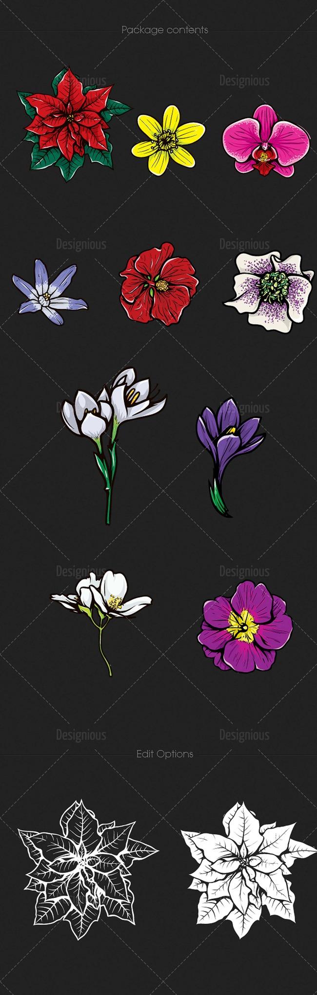 矢量时尚花朵图案设计