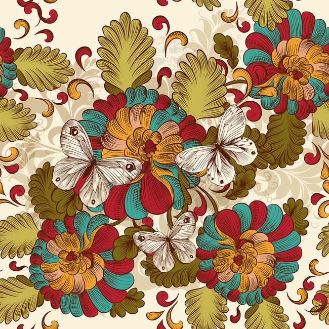 民族风蝴蝶花卉花纹图案