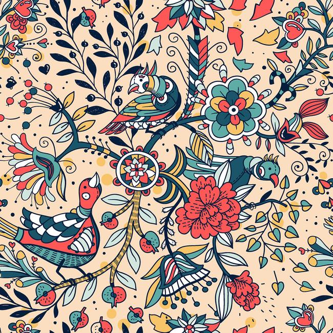 民族风喜鹊花卉花纹图案设计图片下载花花纹 喜鹊报喜 花开富贵 服装