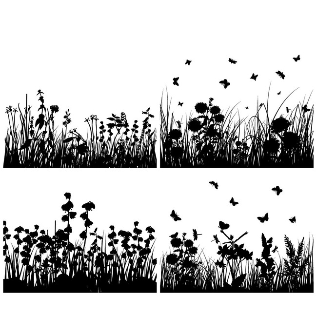 黑白花丛背景图案