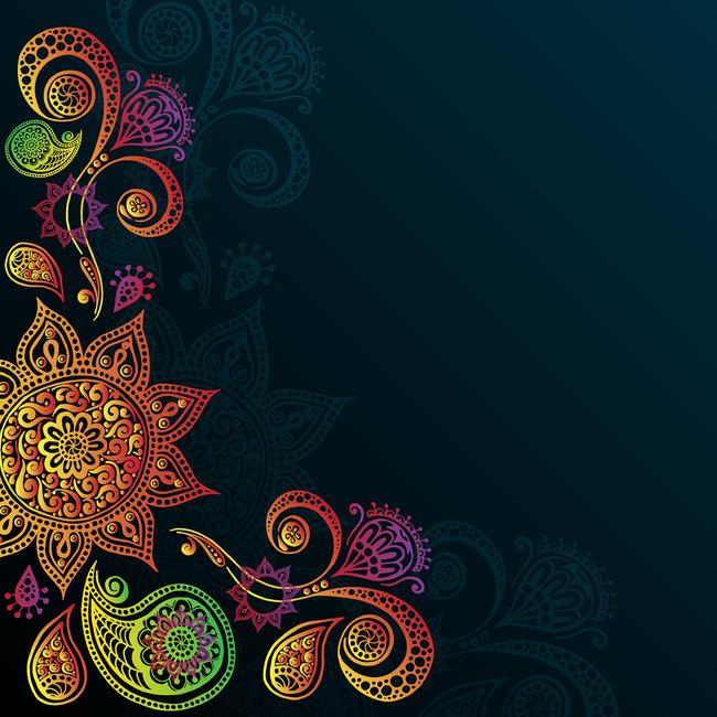 时尚色彩手绘花纹图案设计模板下载(图片编号:)