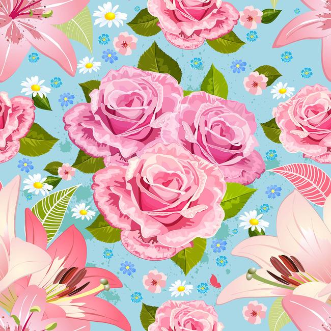 粉色时尚手绘花卉图案设计