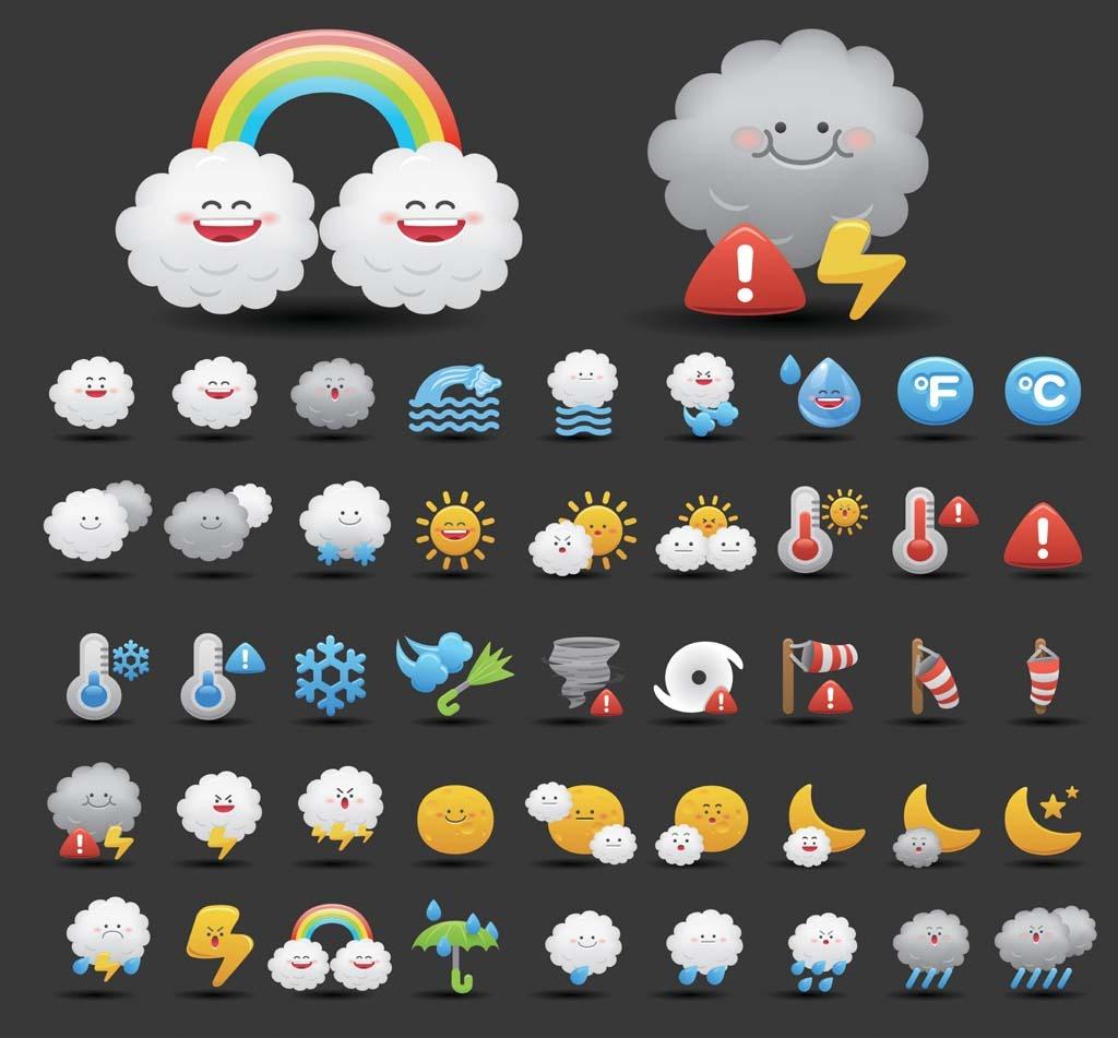 可爱卡通天气预报图标图片
