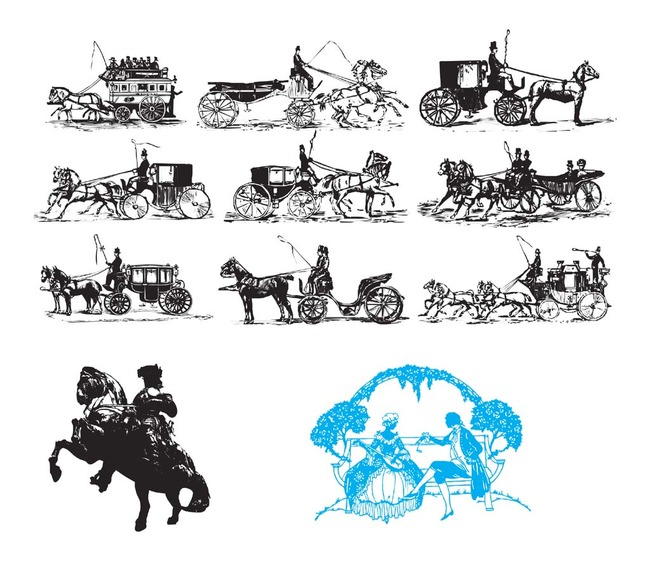 古代欧洲马车黑边剪影图标