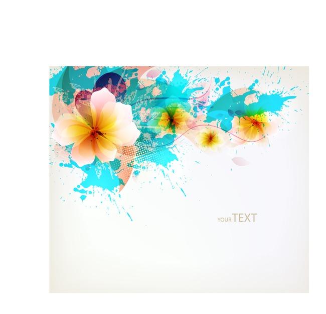 创意花卉卡矢量插画手绘花