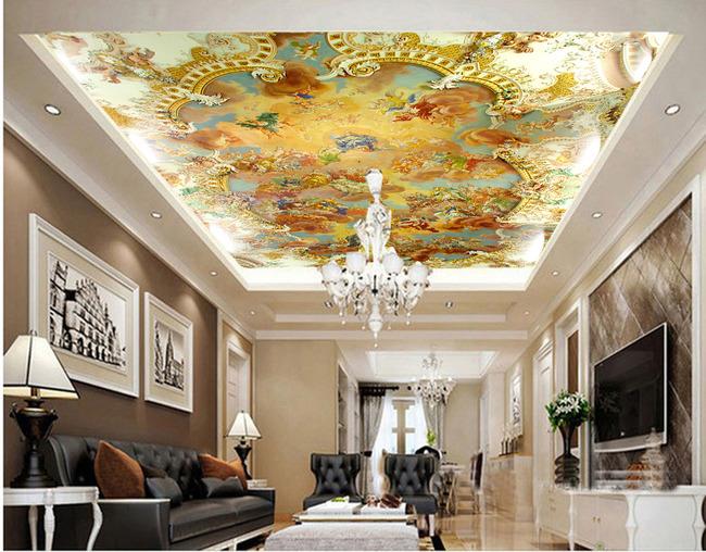 油画人物飞天天花壁画欧式花纹吊顶天顶画图片