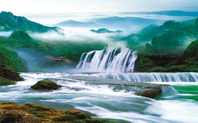 山水画流水生财瀑布风景壁画