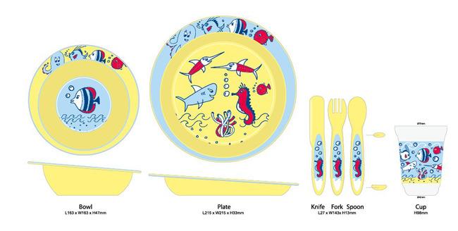 手绘卡通海底小孩碗杯匙碟