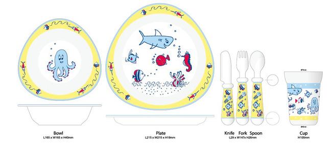 手绘卡通海底小孩碗杯匙碟二