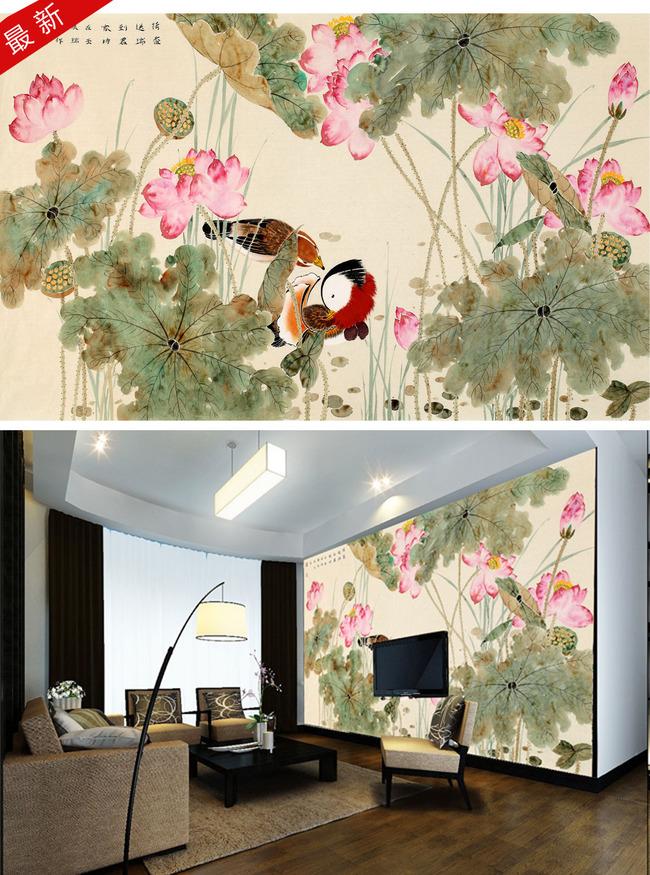手绘花鸟画电视背景墙