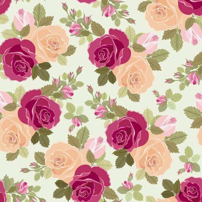 手绘玫瑰花朵印花矢量图案