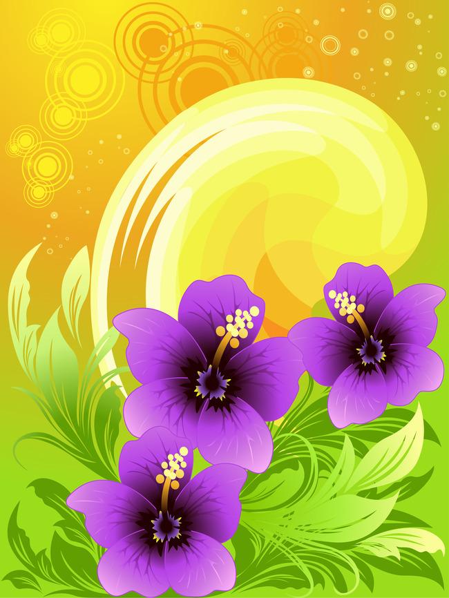 炫丽花卉装饰背景手绘
