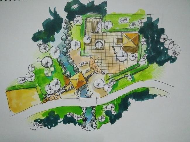 现代园林设计广告插画