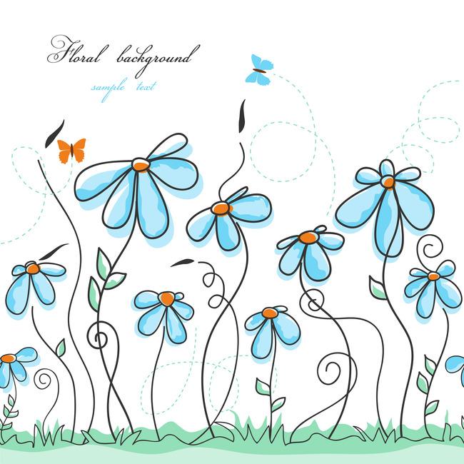 夏季手绘花纹矢量背景模板