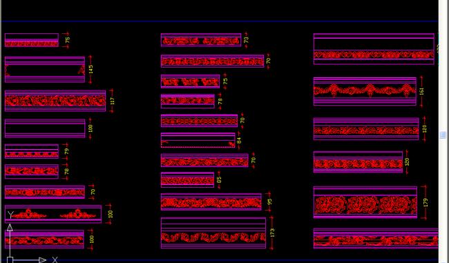 欧式花纹cad线条cad模板下载(图片编号:13373351)