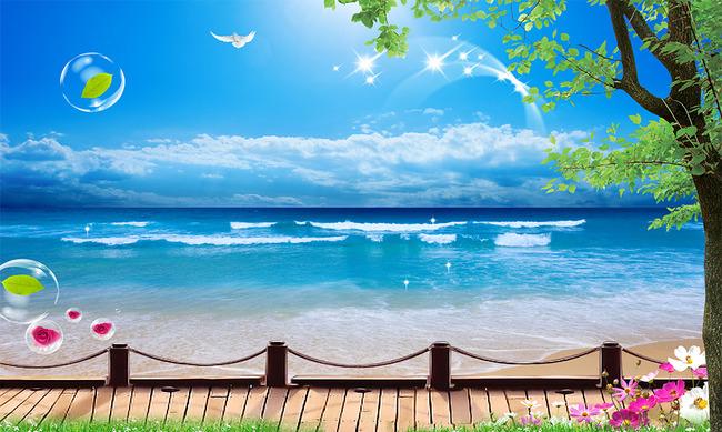 蓝天白云树木海鸥风景壁画