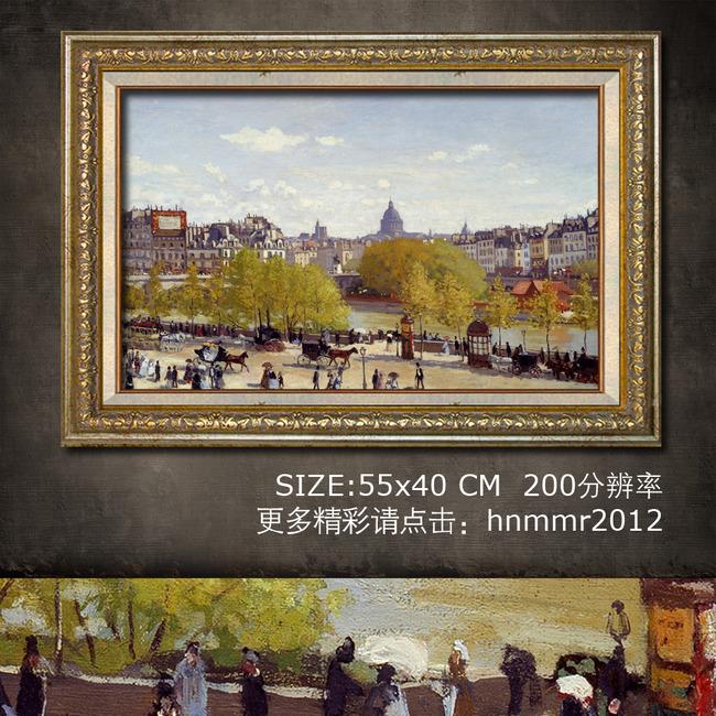 欧洲街景街头马车手绘油画