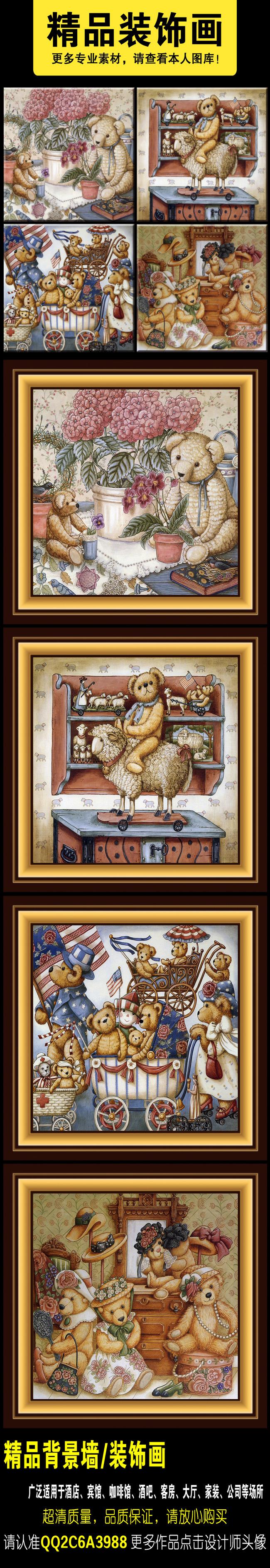欧美复古油画手绘小熊美丽小屋风景装饰画