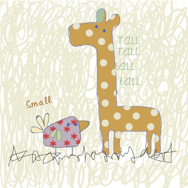 卡通花纹动物手帕图案