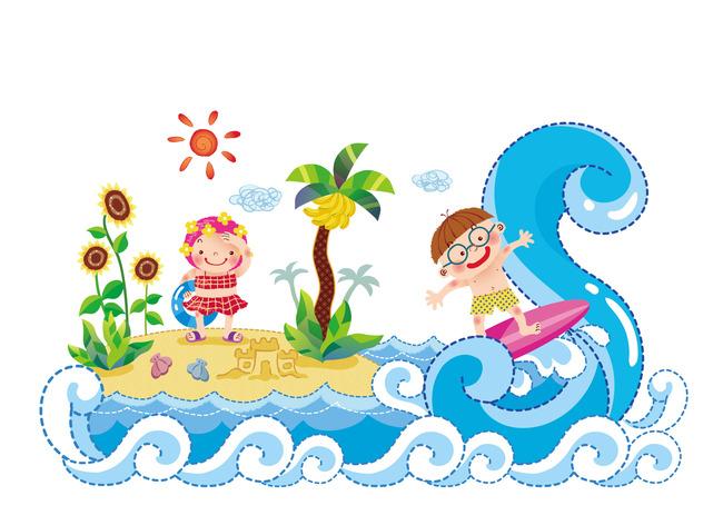 椰树 向日葵 白云 小岛 手绘 高清幼儿园装饰墙 儿童房装饰画 壁画图片