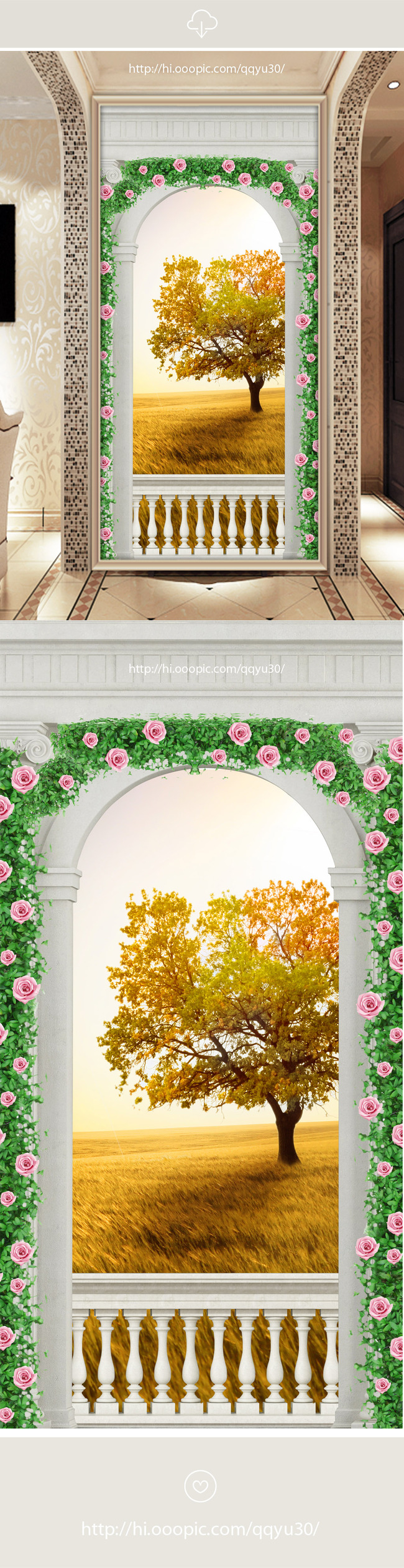 罗马柱拱门秋天风景3d玄关