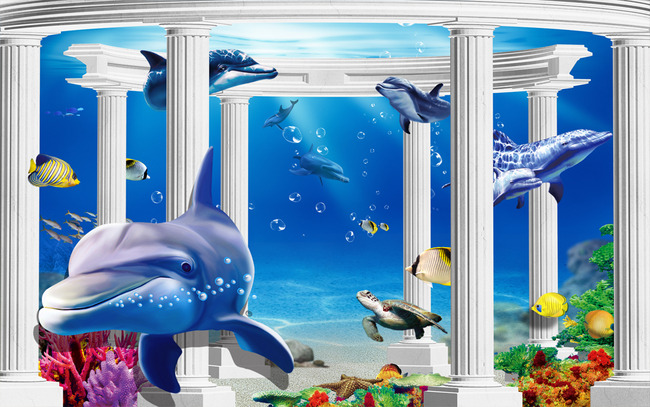 海底世界3d立体宫殿罗马柱海豚电视背景墙