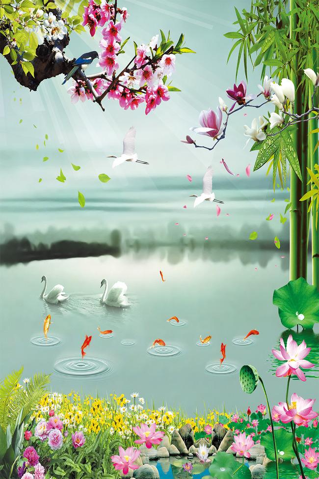 天鹅 风景 山水风景 绿叶 叶子 竹 花鸟图 梅花 荷花 小鱼 荷叶 石头图片