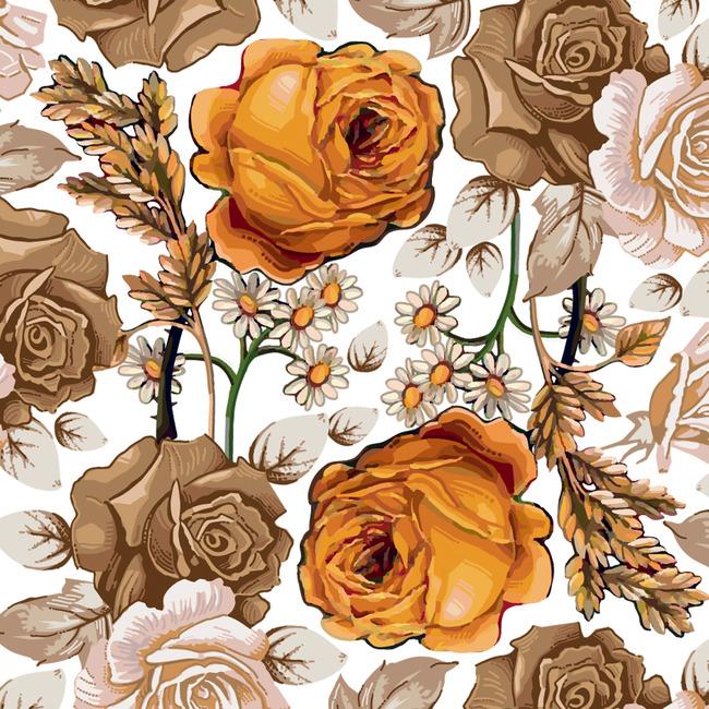 矢量手绘花卉经典图案