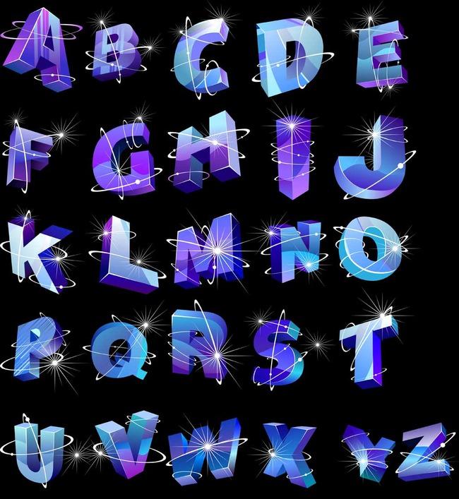 立体26英文字母创意艺术设计