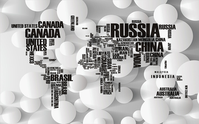 英文字母世界地图圆圈3d电视背景墙