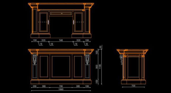 欧式实木酒柜吧台cad图模板下载(图片编号:13379388)