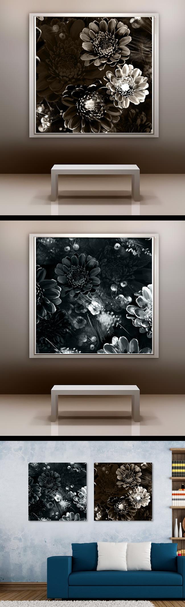 欧式油画丙烯画花朵无框画壁画背景墙