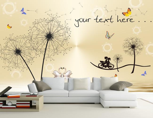 3d蒲公英温馨客厅电视沙发背景墙壁画