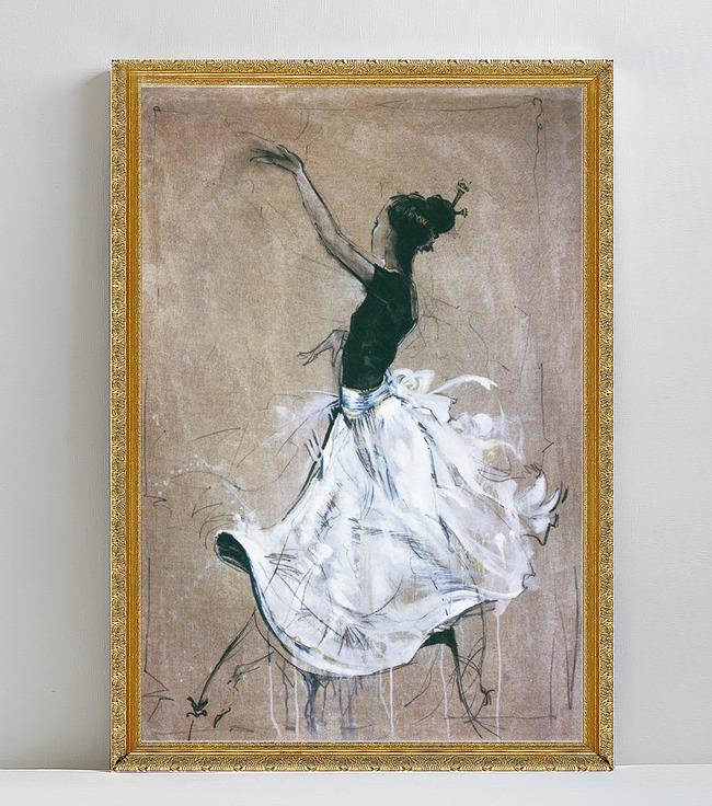 欧式抽象芭蕾舞少女人物油画装饰画